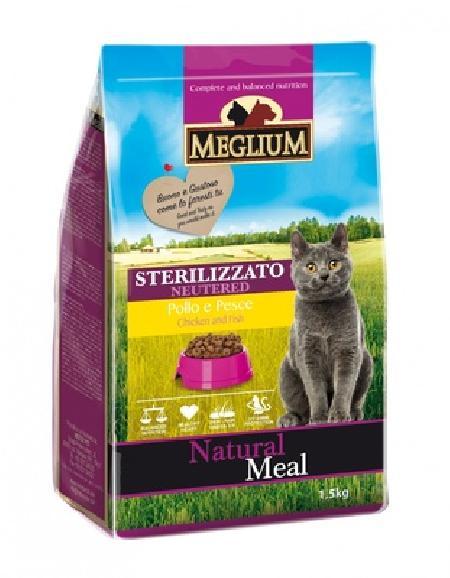 MEGLIUM Сухой корм  для стерилизованных кошек с рыбой и курицей 64000, 3,000 кг