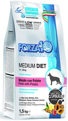 Forza10 ВИА Диетический корм для взрослых собак средних пород из свинины, картофеля , 1,500 кг