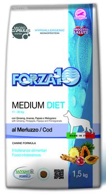 Forza 10 корм для взрослых собак средних пород при аллергии и пищевой непереносимости, треска 1,5 кг