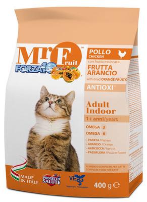 Forza 10 корм для домашних взрослых кошек всех пород, с экстрактами оранжевых фруктов, курица 400 гр