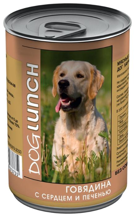 Dog Lunch влажный корм для взрослых собак, говядина с сердцем и печенью в желе 410 гр