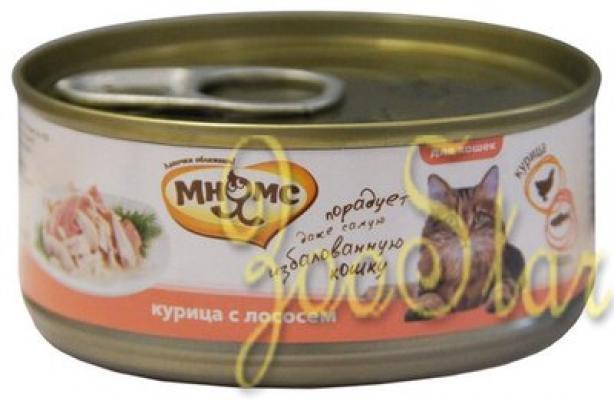 Мнямс влажный корм для взрослых кошек всех пород, лосось 70 гр