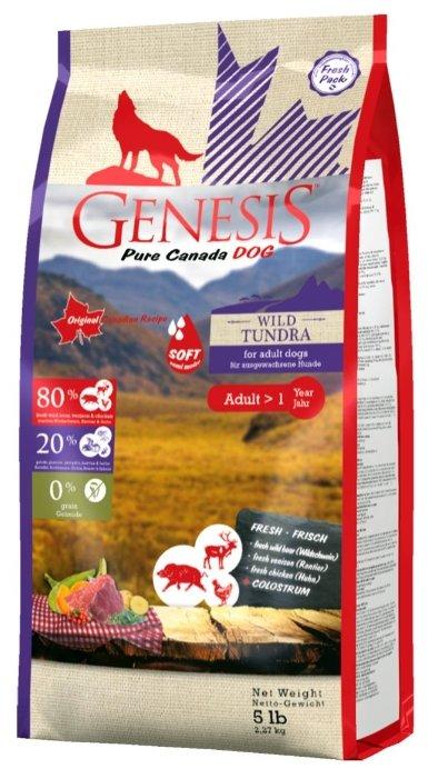 Genesis полувлажный корм для взрослых собак всех пород, мясо кабана, оленя и курицы 2,268 кг