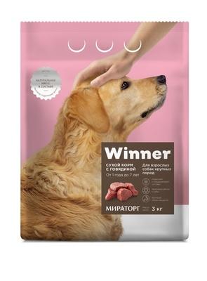 Winner ВИА Сухой корм для взрослых собак крупных пород с говядиной, 3,000 кг