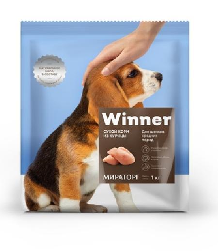 Winner ВИА Cухой корм для щенков средних пород c курицей, 1,000 кг