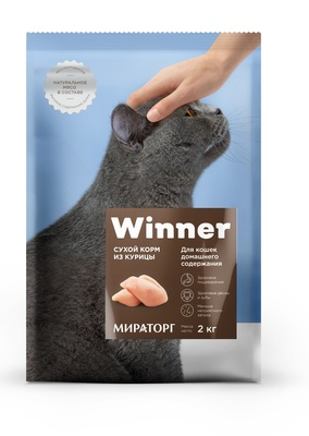 Winner ВИА Сухой корм для домашних кошек с курицей, 2,000 кг
