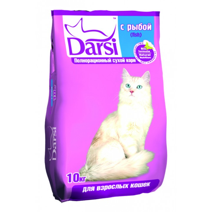 Darsi корм для взрослых кошек, рыба 10 кг