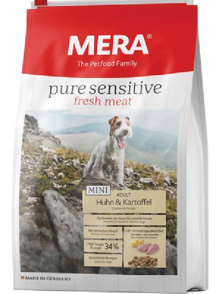 MERA ВИА Беззерновой корм для взрослых собак малых пород с курицей и картофелем (подходит для собак с чувствительным пищеварением и/или аллергиями) (Mera Pure Sensitive Mini Fresh Meat Adult Huhn&Kartoffel) , 1,000 кг, 37948