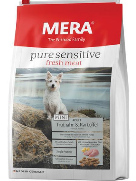 MERA ВИА Беззерновой корм для взрослых собак малых пород с индейкой и картофелем (подходит для собак с чувствительным пищеварением и/или аллергиями) (Mera Pure Sensitive Mini Fresh Meat Adult Truthahn&Kartoffel ) , 1,000 кг, 37952