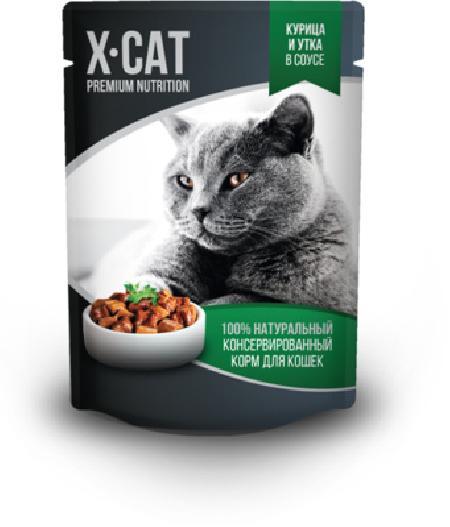 X-CAT Влажный корм для кошек курица и утка в соусе , 0,085 кг