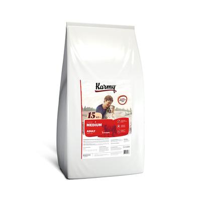 Karmy корм для взрослых собак средних пород, телятина 15 кг