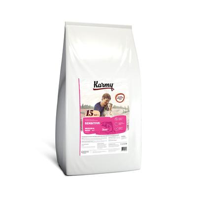 Karmy корм для взрослых собак средних и крупных пород, деликатное пищеварение, лосось 15 кг