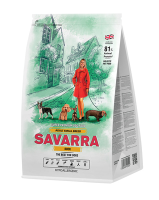 Savarra Сухой корм для взрослых собак мелких пород Утка и рис Adult Dog Small Breed 5649021, 3,000 кг, 53754