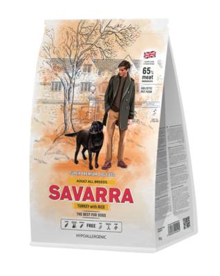 Savarra Сухой корм для взрослых собак Индейка и рис Adult Dog Turkey 5649040, 1,000 кг, 53759
