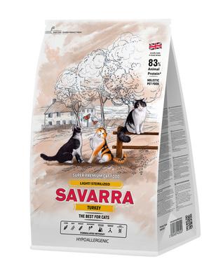 SAVARRA корм для взрослых стерилизованных кошек всех пород, холистик, индейка и рис 2 кг