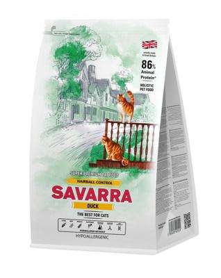 SAVARRA корм для взрослых кошек всех пород, вывод комочков шерсти, утка и рис 2 кг