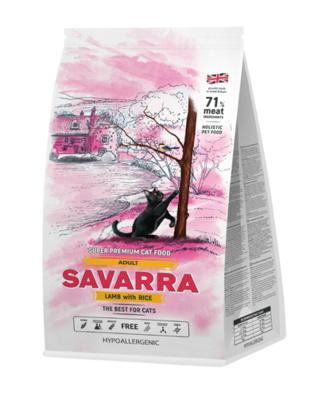 SAVARRA корм для взрослых кошек всех пород, холистик, ягненок и рис 400 гр