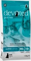 Devoted 40112 корм беззерновой для кошек с шотландским Лососем, белой рыбой и сельдью 1,5кг