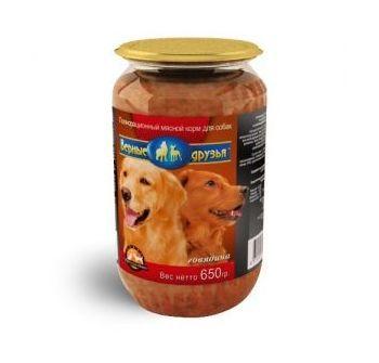 Верные друзья консерв. длЯ собак 650г говядина стекло (18)
