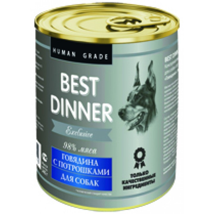 Best Dinner влажный корм для взрослых собак, чувствительное пищеварение, телятина с потрошкам 340 гр