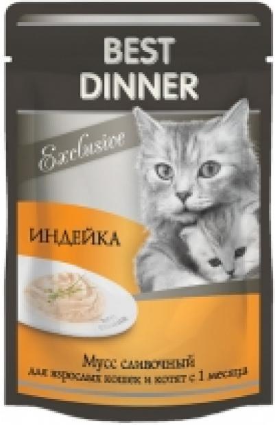 Best Dinner Exclusive влажный корм для кошек всех пород, мусс сливочный, индейка 85 гр