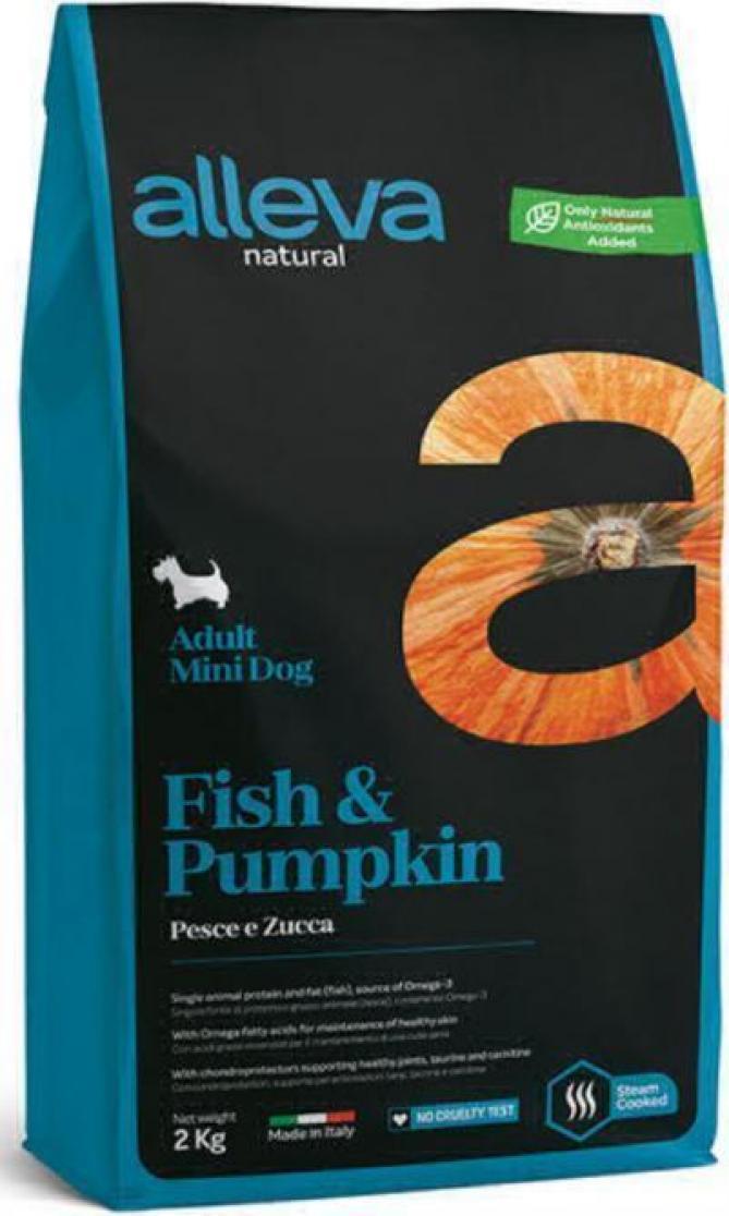ALLEVA NATURAL DOG длЯ собак Adult Fish & Pumpkin Mini  взрослых с рыбой и тыквой 2кг 2097