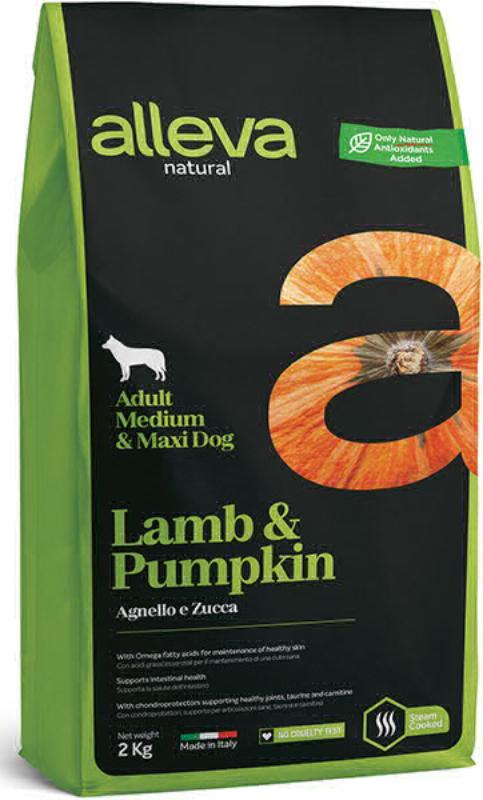 ALLEVA NATURAL DOG длЯ собак Adult Lamb & Pumpkin MediumMaxi  взрослых с ягненком и тыквой 2кг 2127