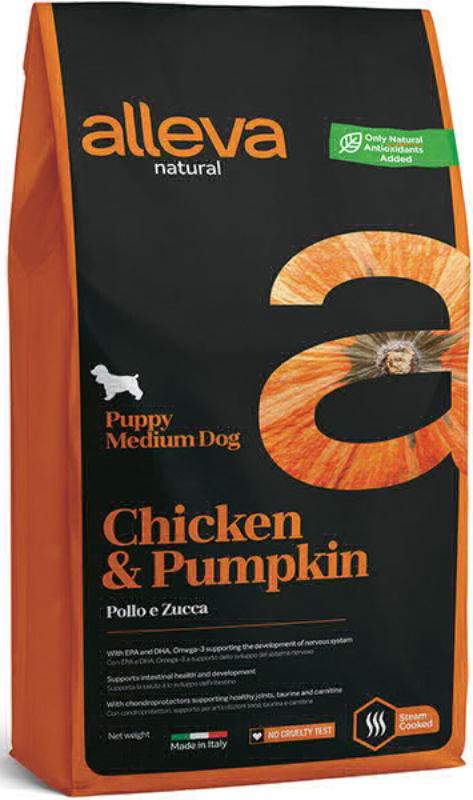 ALLEVA NATURAL DOG длЯ собак Puppy Chicken & Pumpkin Medium  щенков с курицей и тыквой 0,8 кг 2028