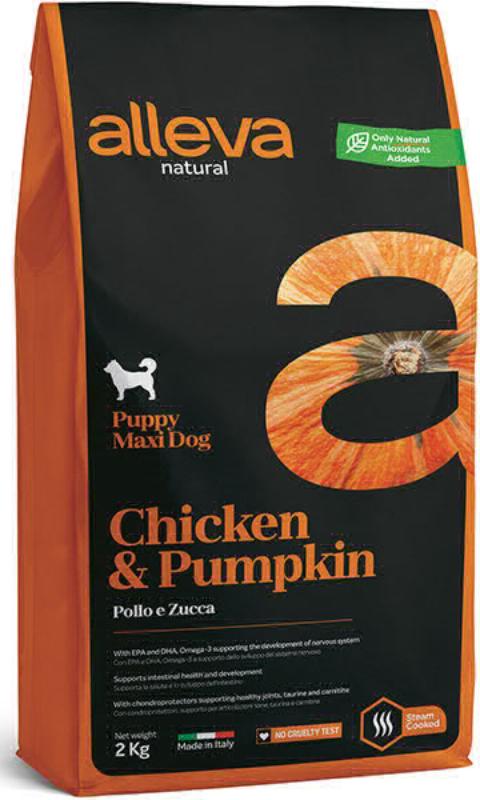 ALLEVA NATURAL DOG длЯ собак Puppy Chicken & Pumpkin Maxi  щенков с курицей и тыквой 2 кг 2059