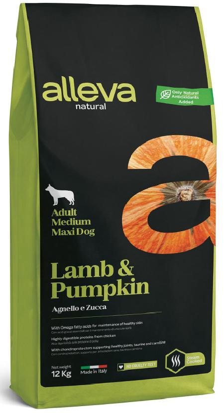 ALLEVA NATURAL DOG длЯ собак Adult Lamb & Pumpkin MediumMaxi  взрослых с ягненком и тыквой 12кг 2189