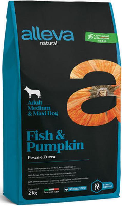 ALLEVA NATURAL DOG длЯ собак Adult Fish & Pumpkin MediumMaxi  взрослых с рыбой и тыквой 2кг 2103