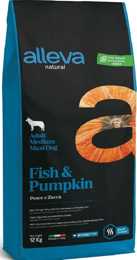 ALLEVA NATURAL DOG длЯ собак Adult Fish & Pumpkin MediumMaxi  взрослых с рыбой и тыквой 12кг 2172