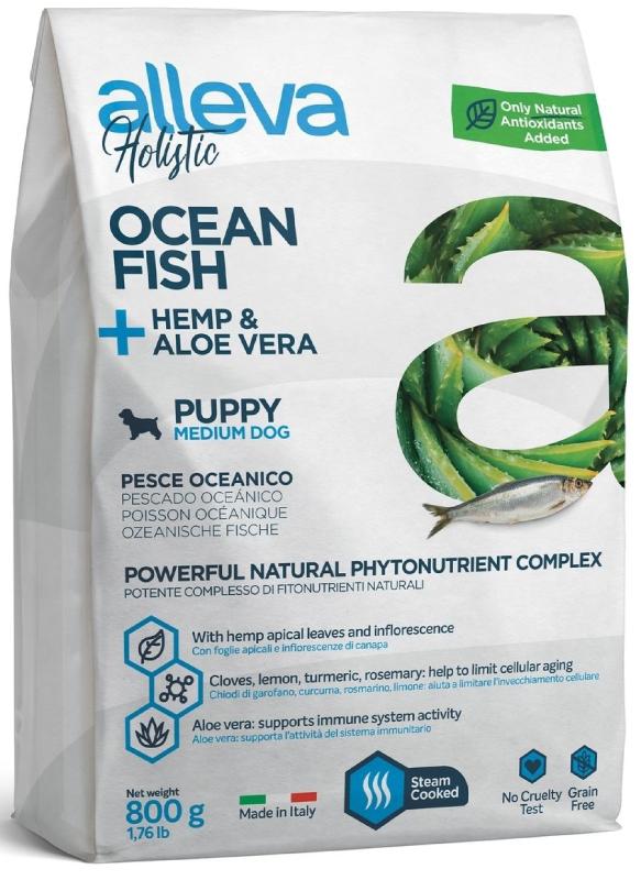 ALLEVA HOLISTIC DOG длЯ собак PuppyJunior Ocean Fish Medium  с океанической рыбой, коноплей и алое вера 0.8кг 2226