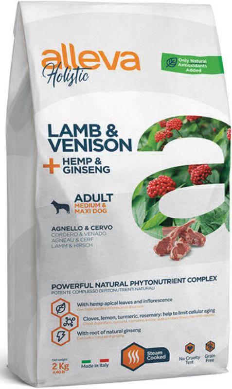 ALLEVA HOLISTIC DOG длЯ собак Adult Lamb & Venison MediumMaxi  взрослых с ягненком и олениной, коноплей и женьшенем 2кг 2356