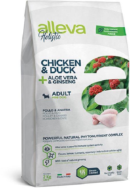 ALLEVA HOLISTIC DOG длЯ собак Adult Chicken & Duck Mini  взрослых с курицей и уткой, алое вера и женьшенем 2кг 2295