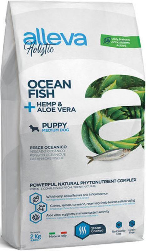 ALLEVA HOLISTIC DOG длЯ собак PuppyJunior Ocean Fish Medium  с океанической рыбой, коноплей и алое вера 2кг 2271