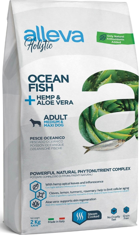 ALLEVA HOLISTIC DOG длЯ собак Adult Ocean Fish MediumMaxi  с океанической рыбой, коноплей и алое вера 2кг 2332