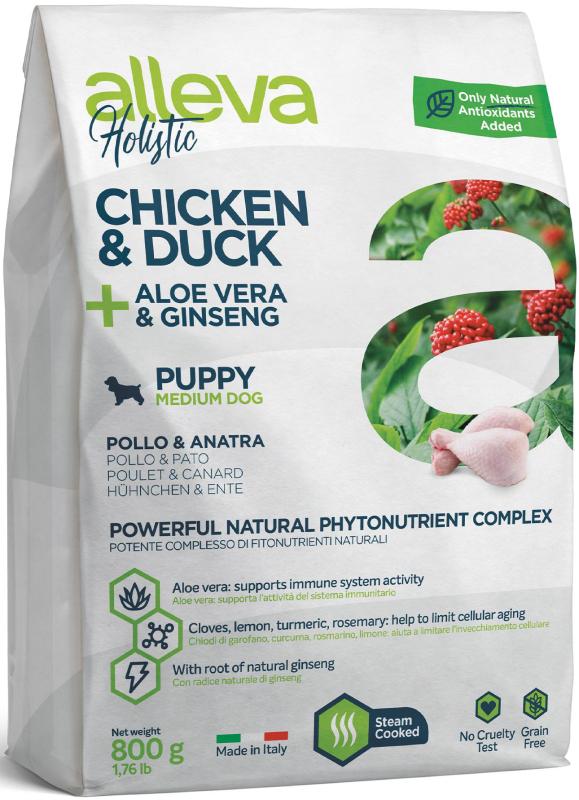 ALLEVA HOLISTIC DOG длЯ собак PuppyJunior Chicken & Duck Medium  с курицей и уткой, алое вера и женьшенем 0.8кг 2202