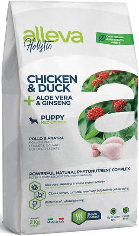ALLEVA HOLISTIC DOG длЯ собак PuppyJunior Chicken & Duck Medium  с курицей и уткой, алое вера и женьшенем 2кг 2240