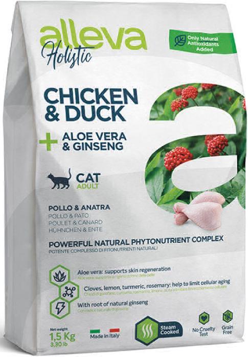 ALLEVA HOLISTIC CAT дк Adult Chicken & Duck  взрослых с курицей и уткой, алое вера и женьшенем 0,4 кг 2707