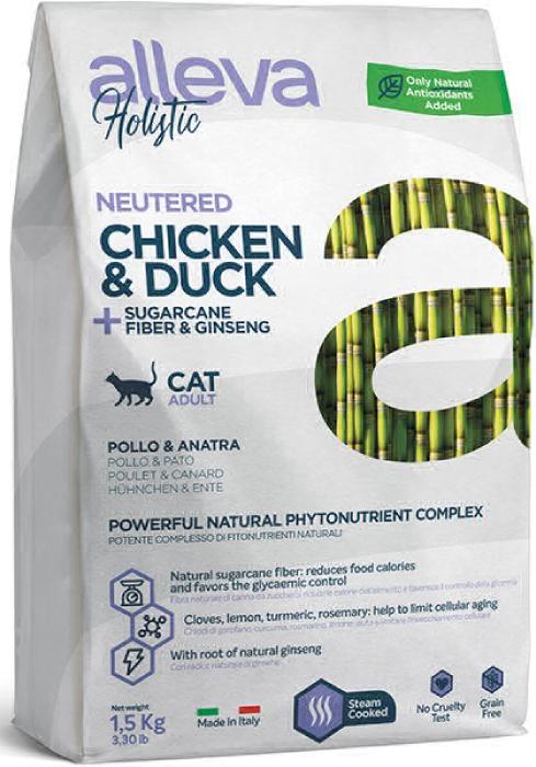 ALLEVA HOLISTIC CAT дк Neutered  кастрированных и стерилизованных с курицей и уткой волокнами сахарного тростника и женьшенем 0,4 кг 2714