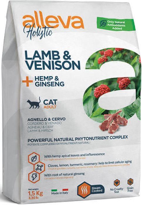 ALLEVA HOLISTIC CAT дк Adult Lamb & Venison  взрослых с ягненком и олениной, коноплей и женьшенем 1,5 кг 2752