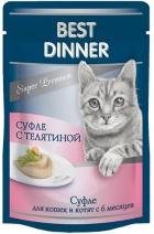 Best Dinner Мясные Деликатесы влажный корм для кошек всех пород, суфле с телятиной 85 гр