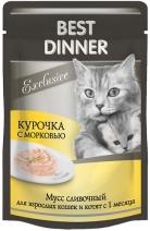 Best Dinner Exclusive влажный корм для кошек всех пород, мусс сливочный, курица и морковь 85 гр