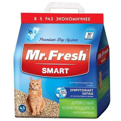 Mr.Fresh Наполнитель древесный комкующийся для короткош кошек 18л/8,4кг F603, 8,300 кг