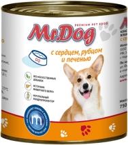 Мистер Дог 60156 кон.д/собак с Сердцем, рубцом и печенью 750г