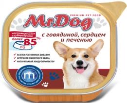 Мистер Дог 60293 кон.д/собак с Говядиной, сердцем и печенью 300г