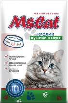 Мисс Кэт 60415 пауч д/кошек кусочки с Кроликом в соусе 85г