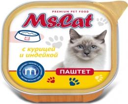 Мисс Кэт 60453 кон.д/кошек паштет с Курицей и индейкой 100г