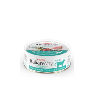 Italian Way Консервы Облегченные консервы для кошек с форелью и черникой (ITALIAN WAY WET CAT IDEAL WEIGHT TROUT/BLUEBERRY) UITWA16192, 0,080 кг, 36598